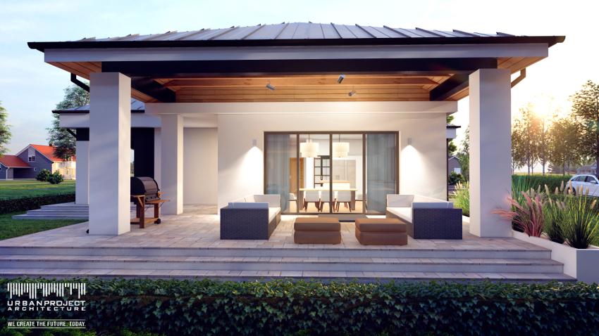 Przestronne i zadaszone tarasy stanowią bezsprzeczną ozdobę domu i tworzą wspaniałe miejsce do wypoczynku na świeżym powietrzu. Zwróćcie też uwagę na drewnianą podbitkę dachową, która dodaje niepowtarzalnego charakteru tej przestrzeni.