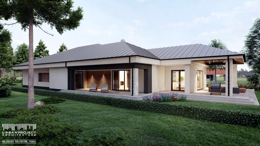 Klasyczną formę domu zdynamizowano poprzez odpowiedni dobór materiałów elewacyjnych. Biały tynk stanowi tło dla czarnych elementów oraz ciemnej stolarki i kontrastuje z wykończeniem dachu w hebanowym kolorze. Dodatkowo dla ocieplenia całości, na niektórych fragmentach zastosowano drewnopodobną okładzinę elewacyjną. Dom na wąską działkę