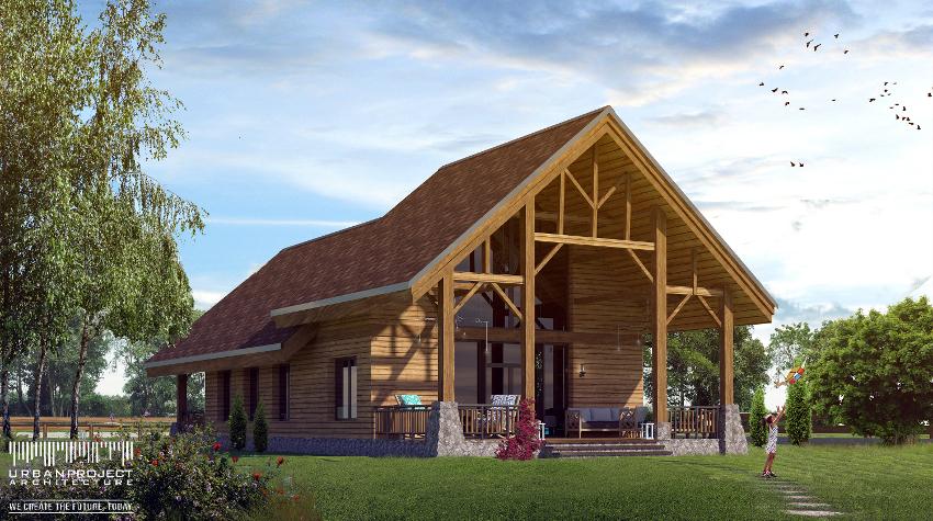 To druga wersja projektu, która zresztą jest chyba moją ulubioną. ;] Wspaniała weranda z wysokim zadaszeniem wsparta majestatycznymi drewnianymi podporami. Naprawdę, można się zakochać! <3 Projekt fantastycznego domu