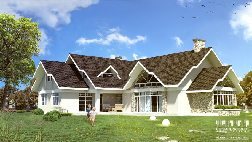 Ponadto na elewacji kamień przeplata się z białym tynkiem i kontrastuje z ciemnym pokryciem dachu. Natomiast misterne podziały okien dodają uroku oraz tworzą niezwykłą grę światła i cienia we wnętrzu. Urzekający projekt domu