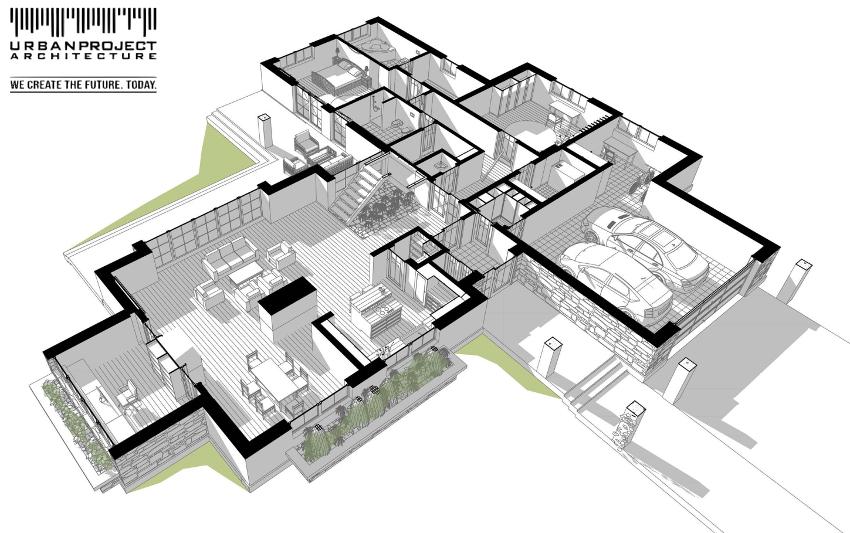 """W tej wersji zaproponowano układ pomieszczeń w kształcie litery """"T"""". Zwróćcie również uwagę na przestronną strefę dzienną, na którą składają się hol, salon, kuchnia, jadalnia oraz pracownia."""