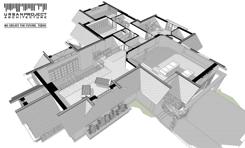 Pomieszczenia na poddaszu wkomponowano w przemyślaną geometrię dachów. Dzięki temu mogą być dobrze doświetlone i wygodnie użytkowane.