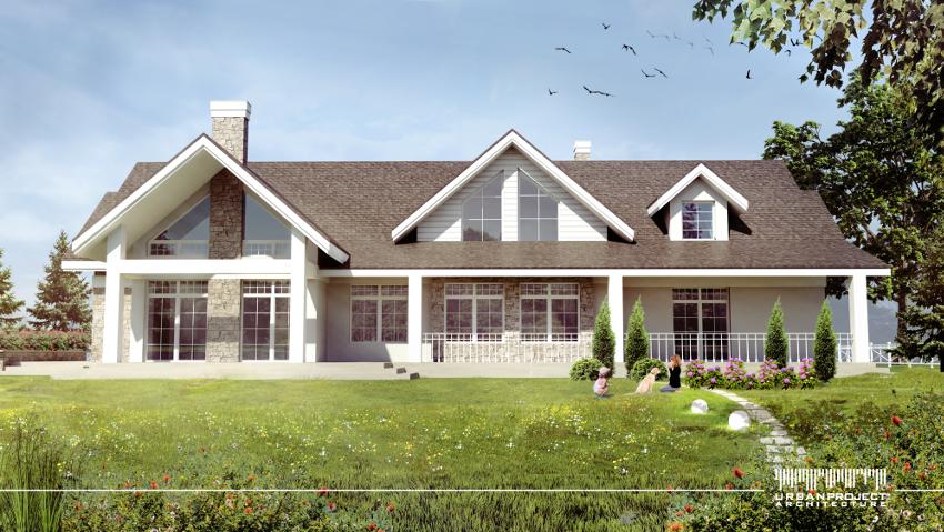Widok z drugiej strony domu - od ogrodu. Wdzięczna antresola dopełnia założenia, natomiast delikatne podziały okien sprawiają, że jest to prawdziwie urzekający projekt domu. ;] Urzekający projekt domu