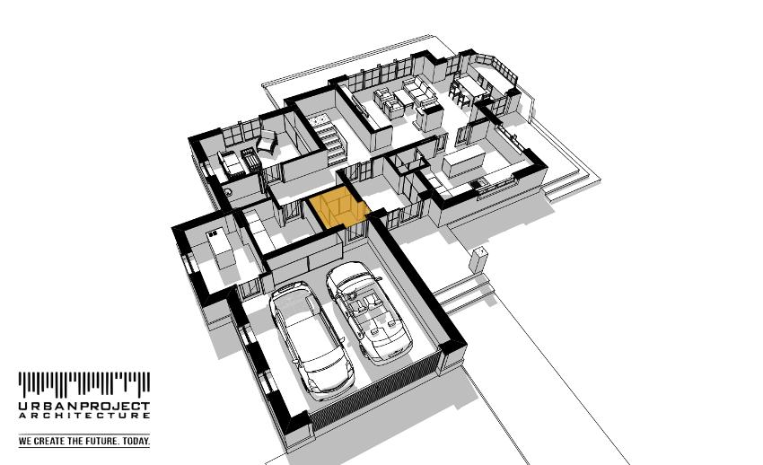 W przypadku tego projektu niewielki mudroom standardowo łączy garaż z przestronnym wiatrołapem. Nawet niewielką przestrzeń można bardzo dobrze wykorzystać.