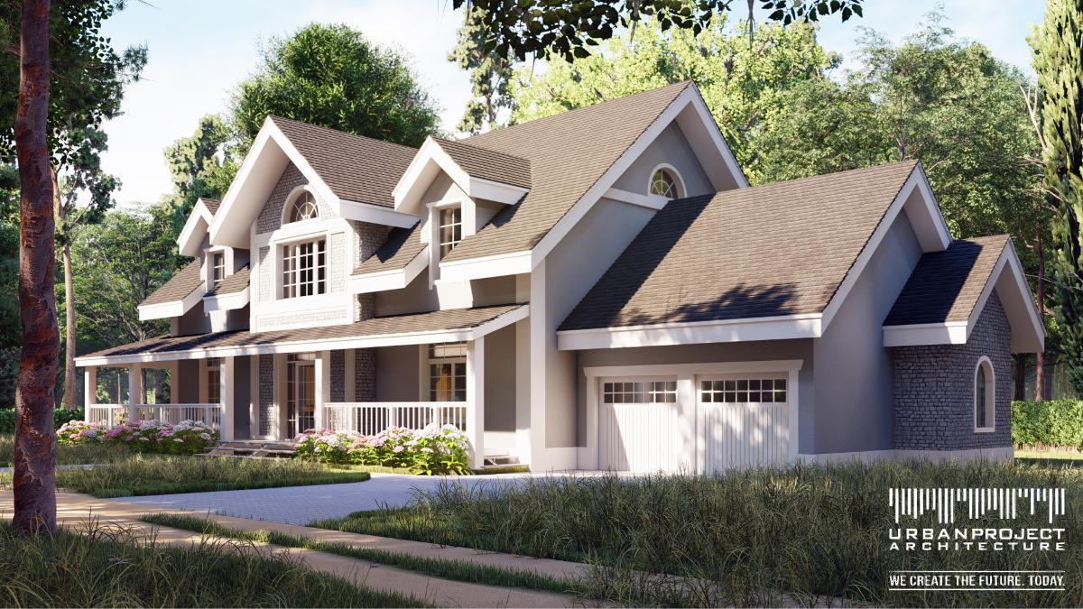 W tym projekcie odnaleźć możemy wszystkie elementy typowego amerykańskiego domu. Począwszy od horyzontalnego układu, przez pastelową kolorystkę, na złożonym dachu skończywszy. I oczywiście jest też... weranda!