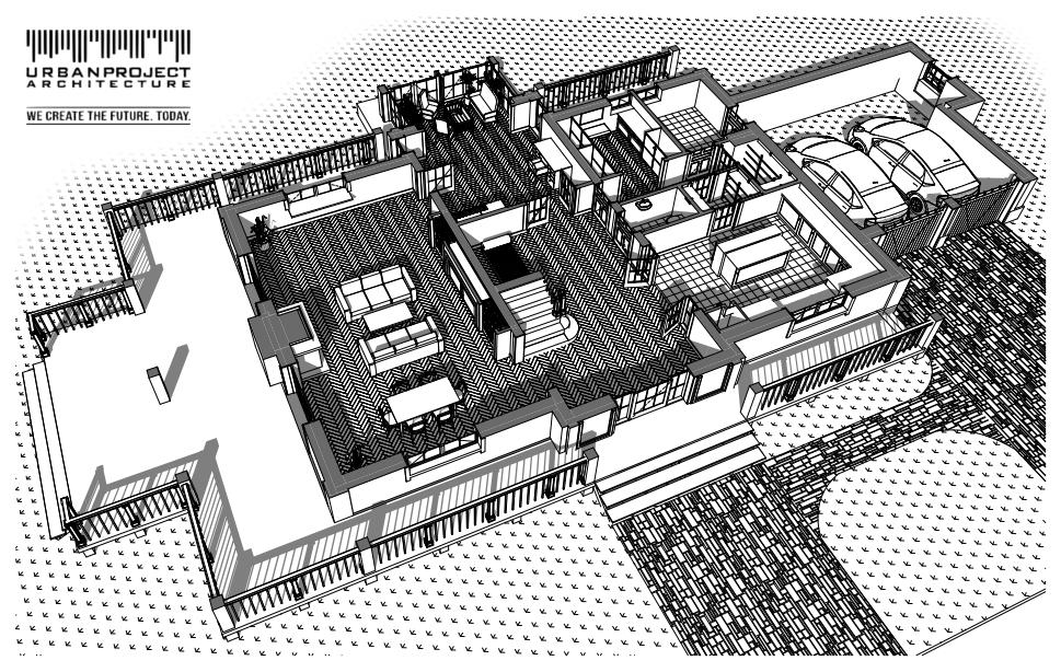 Z tej perspektywy dobrze widać układ werand i to jak odpowiadają one temu co dzieje się wewnątrz budynku.