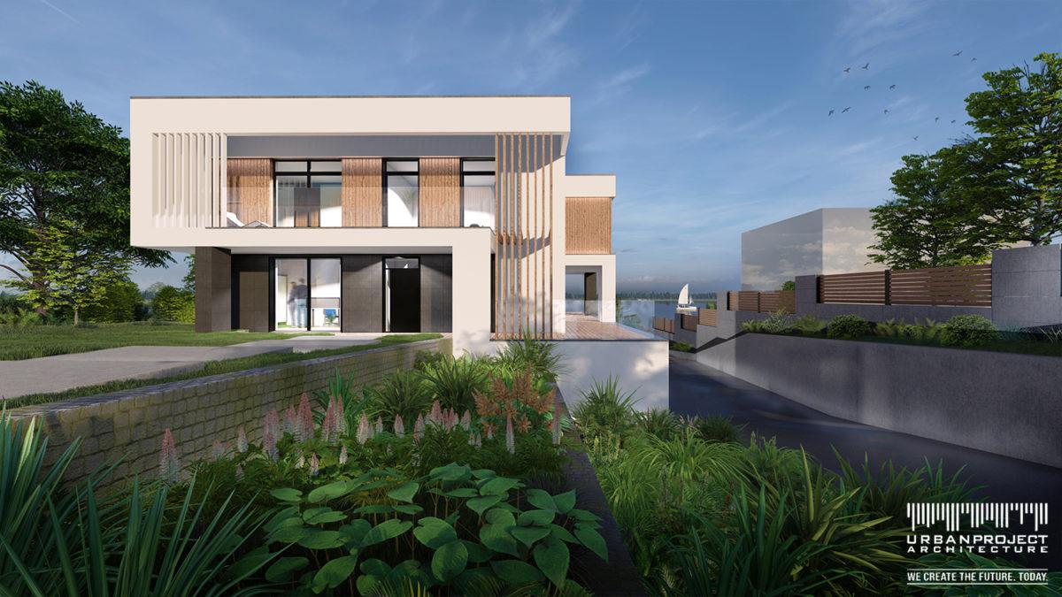Mury oporowe tworzą tarasowe ogrody, które wspaniale podkreślają architekturę obiektu i kierują nasz wzrok ku jezioru. Supernowoczesny dom z wspaniałym widokiem - DOM MARZEŃ A0335
