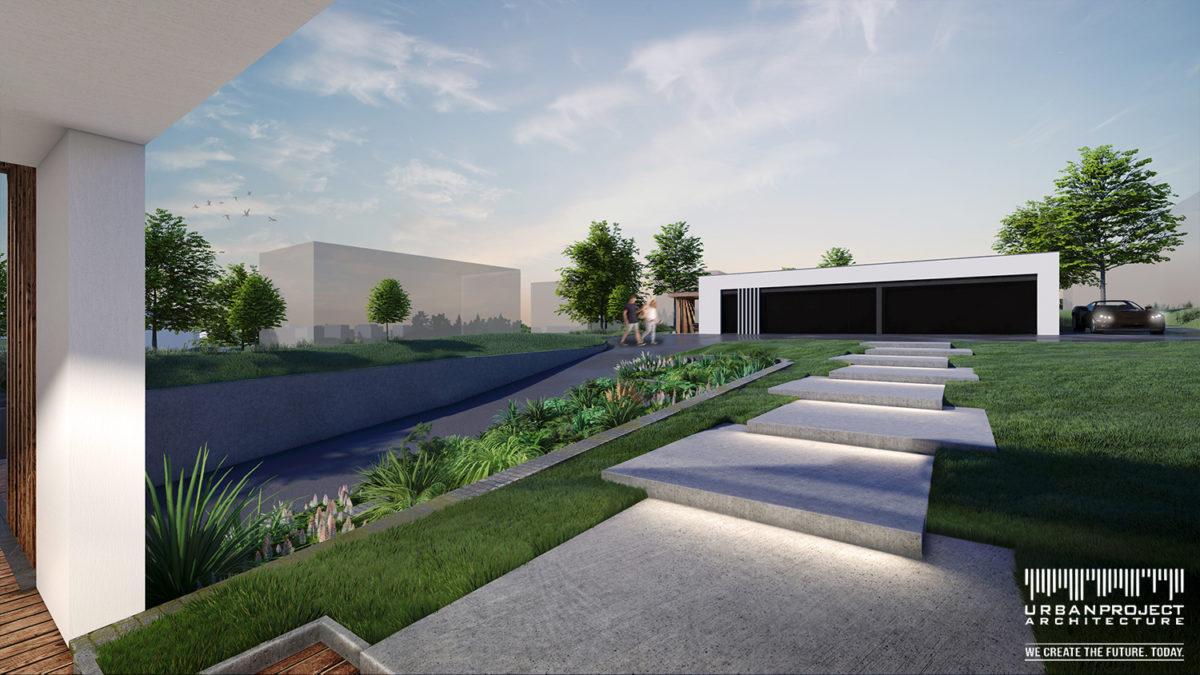 Natomiast z drugiej strony budynku zlokalizowano garaż, również utrzymany w nowoczesnej stylistyce. Z kolei zagospodarowanie ogrodu podkreśla niepowtarzalny charakter tych obiektów.
