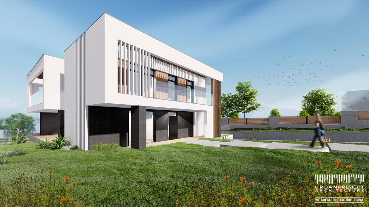 Kontrast czerni i bieli to typowy atrybut nowoczesnych budynków. Jednakże wprowadzenie drewnianych elementów uzupełnia projekt o ciepłe akcenty. Dzięki temu zachowujemy równowagę między nowoczesnością, a sielskim charakterem domu.  To naprawdę supernowoczesny dom!