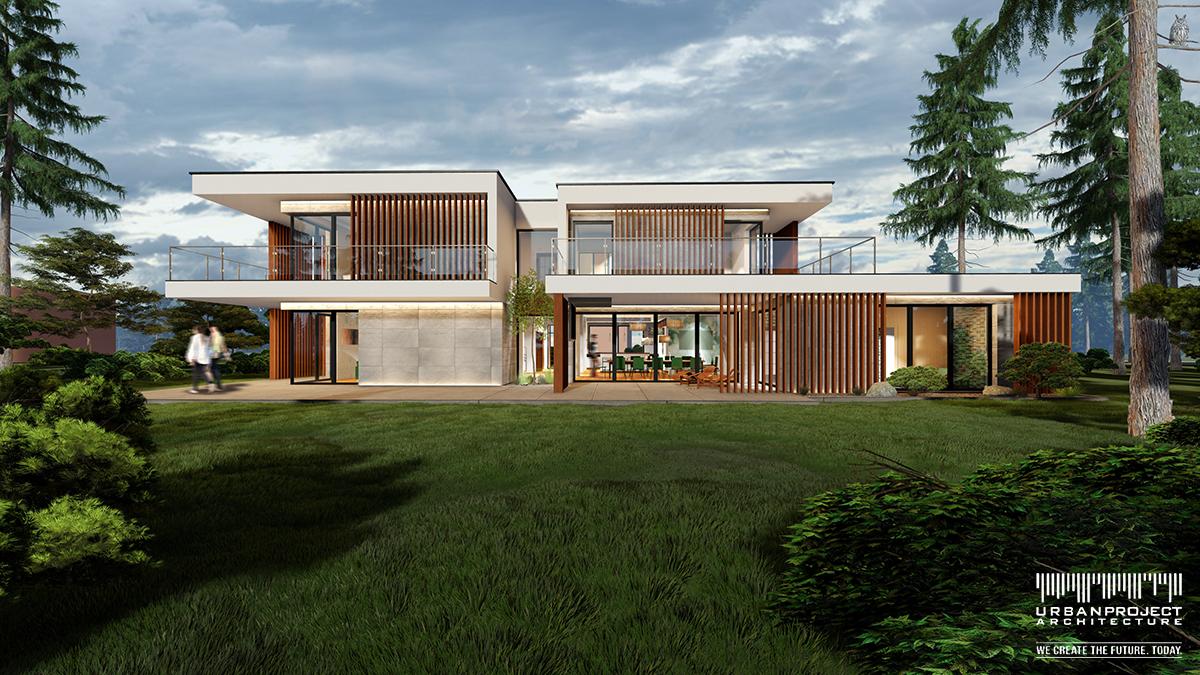 Dzięki zdecydowaniu się na dach płaski możliwe jest rozczłonkowanie bryły budynku. Stropodachy wykorzystywane mogą być na tarasy użytkowe.