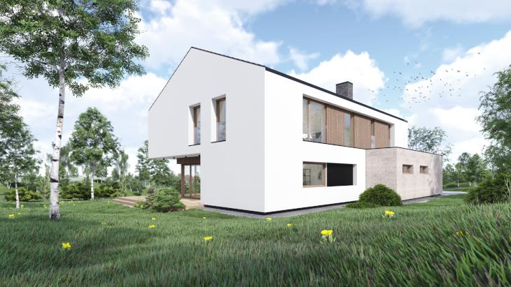 Nowoczesny prosty dom i ostatni widok od strony ogrodu.