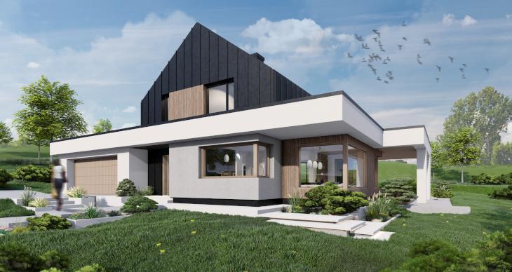 Kolejny z przykładów dachu spadzistego w wersji bezokapowej. Dzięki temu udało nam się stworzyć ciekawą i zarazem nowoczesną bryłę domu marzeń.