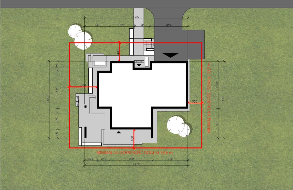 Minimalne wymiary działki budowlanej na której może powstać ten dom marzeń to 28,8m x 22,7m.