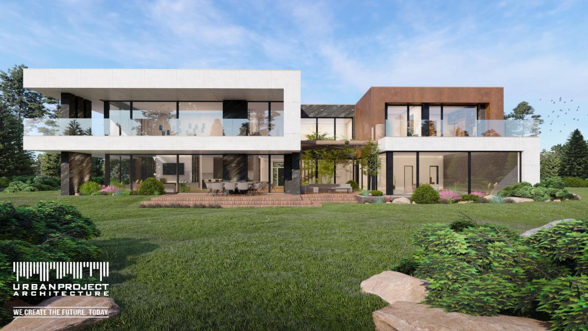 Wyciągnięcie balkonu po lewej oraz cofnięcie rdzawej części po prawej sprawiają, że układ budynku w pierwszej wersji jest horyzontalny.