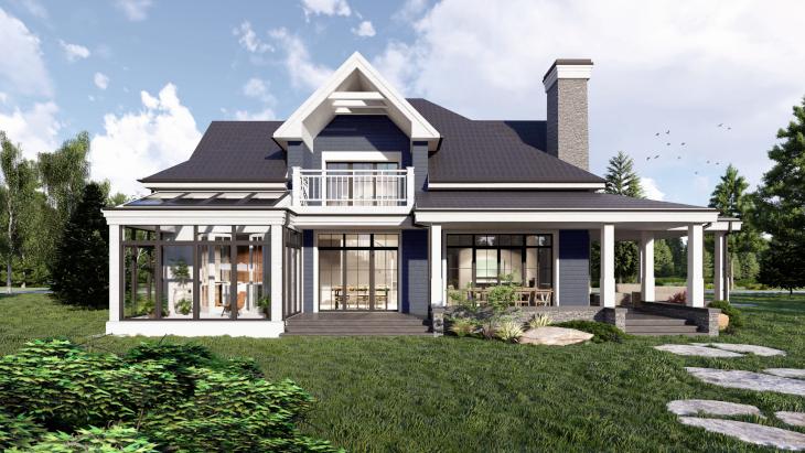 Ostatnie spojrzenie na ten dom amerykański o nietypowej kolorystyce.