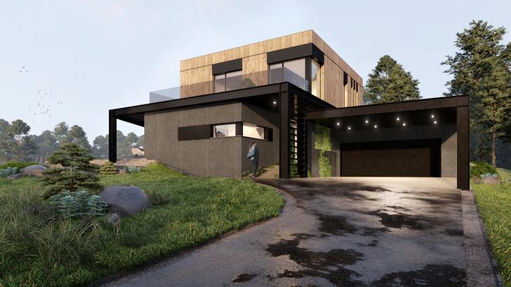 Od strony wejścia budynek wygląda na malutki. A wcale tak nie jest, sami się przekonacie co kryje ten niezwykły dom nowoczesny.