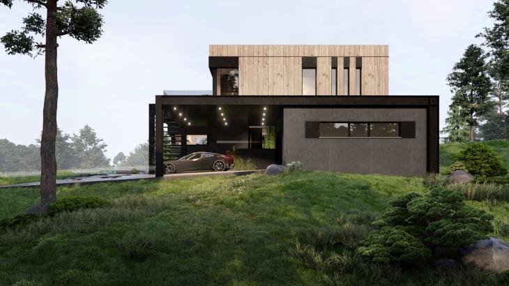 Na koniec ostatni widok na ten niezwykły dom nowoczesny z basenem zewnętrznym.