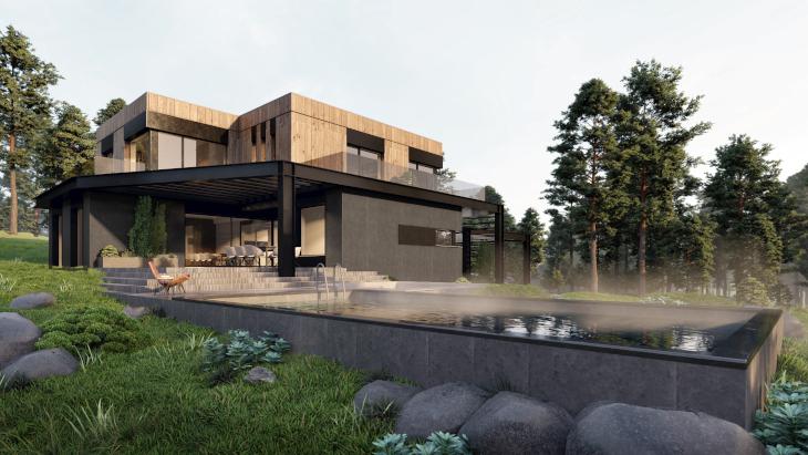 Dom z basenem zewnętrznym - widok od strony ogrodu