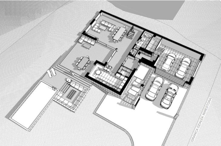 Nowoczesny dom z basenem zewnętrznym - widok 3D na parter.