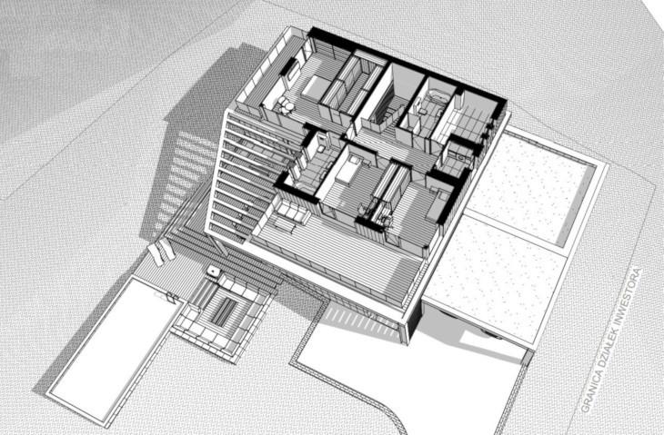 Widok 3D na 2 kondygnację - nowoczesnym dom z basenem zewnętrznym.