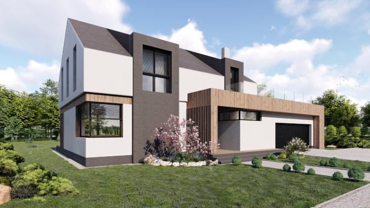Dom z poddaszem użytkowym kryty dachem dwuspadowym . W tym przypadku dzięki takiemu rodzajowi dachu pokoje mogły zostać doświetlone przez klasyczne okna na ścianach szczytowych. Dla lepszego doświetlenia wnętrza pojawiają się również lukarny.
