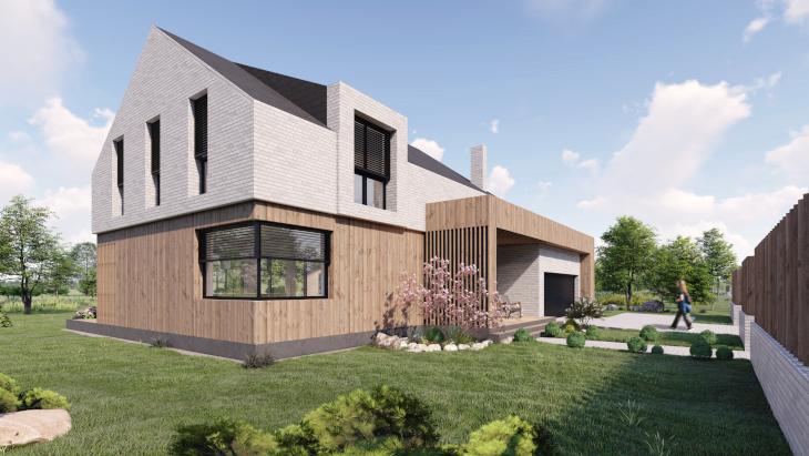 Wysoki kąt dachu w domu z poddaszem. Jak widzicie dach nie dominuje w bryle budynku, a przestrzeń poddasza w sporej części może być wykorzystywana użytkowo.