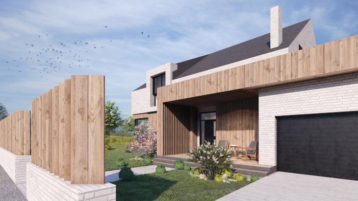 Prosty dom w nowoczesnym stylu wersja I - zwrócona dłuższą krawędzią do drogi. Poprzez dodanie do niej garażu rozchodzi się horyzontalnie na boki.