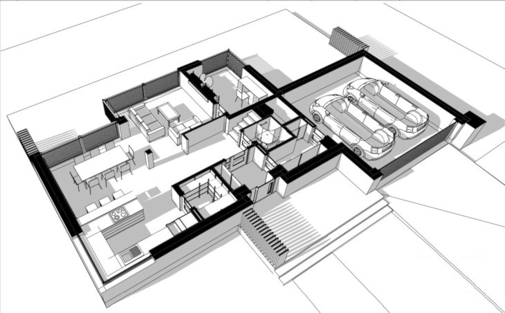 Prosty dom nowoczesny, a w nim też prosty i przejrzysty układ pomieszczeń.