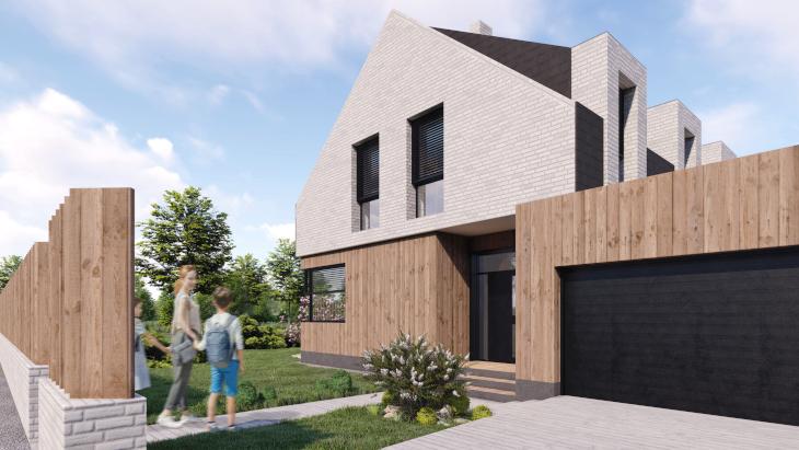 Wersja II - skierowana ścianą szczytową do drogi, dzięki czemu na pierwszy rzut oka ten prosty dom nie wygląda na tak duży jak w rzeczywistości jest.