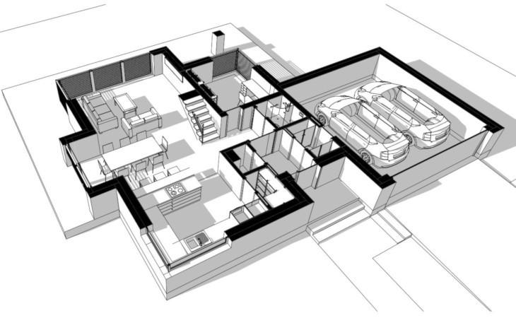Układ pomieszczeń jest odpowiednio wystrefowany na część dzienną oraz część gospodarczą