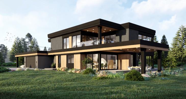 Indywidualny projekt domu nowoczesnego - tarasy zarówno na parterze jak i piętrze, czyli wiele przestrzeni do relaksu lub wypicia porannej kawy :)