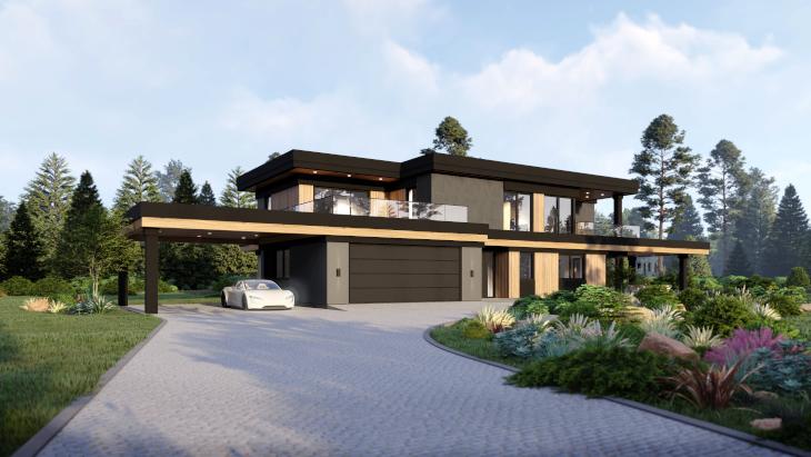 """Większa powierzchnia parteru sprawie, że ten indywidualny projekt domu nowoczesnego ma układ horyzontalny. Co oznacza tyle, że """"rozciąga"""" się wzdłuż horyzontu."""