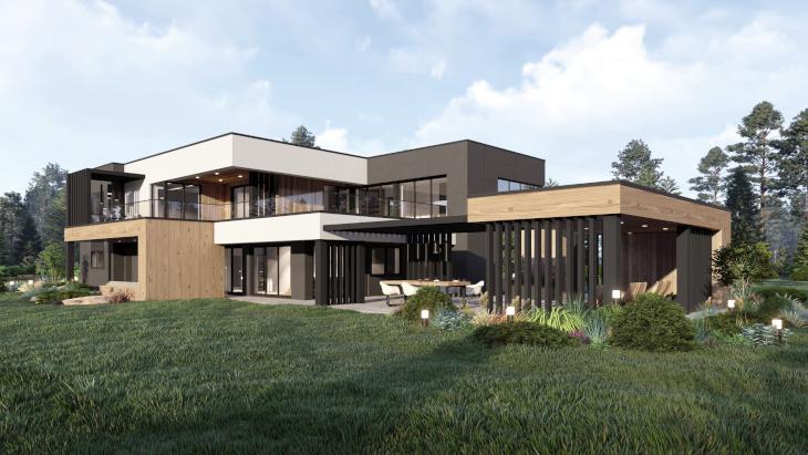 Indywidualny projekt domu nowoczesnego - od strony ogrodu widzimy jak zadaszone tarasy zostały wkomponowane w bryłę budynku.