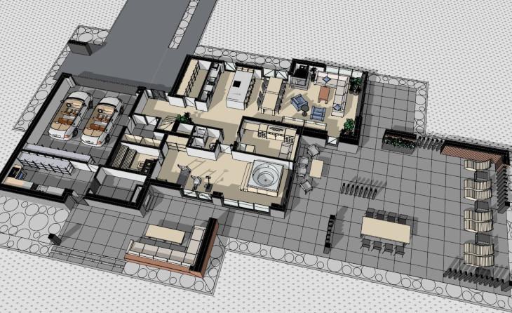 Indywidualny projekt domu nowoczesnego - zobaczcie, ze powierzchnia tarasu jest niemalże taka sama jak powierzchnia domu.