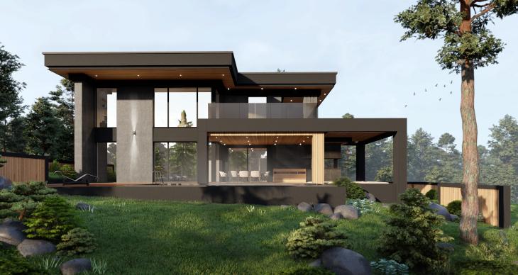 Niezwykły dom nowoczesny wykończony w ciemnej kolorystyce, ale ocieplony nieco pojawiającym się na elewacjach drewnem.