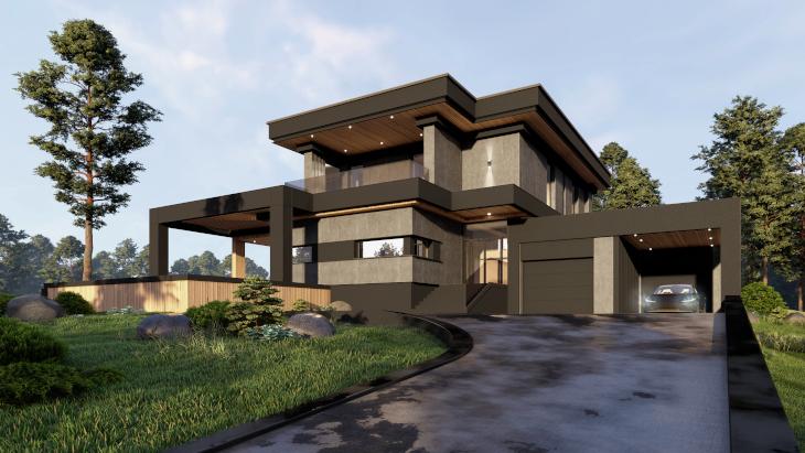 W tym projekcie zastosowano dach płaski, ale dom otoczony jest wydatnym czarnym okapem otaczającym bryłę domu w około dodając jej niezwykłego charakteru.