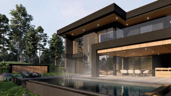 A w ogrodzie tego domu marzeń znajduje się basen odkryty.