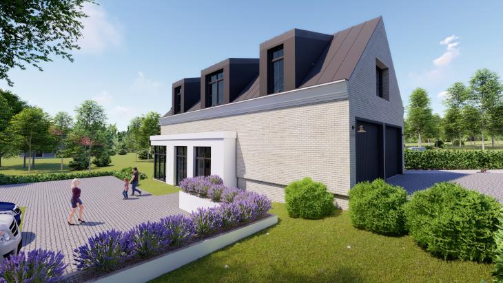 Dom z częścią usługową - Dolna część budynku jasna, natomiast górna utrzymana w ciemnej kolorystyce.