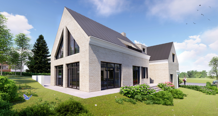 Widok od strony ogrodu, po lewej widzicie okna dopasowane do kąta nachylenia połaci dachowych.