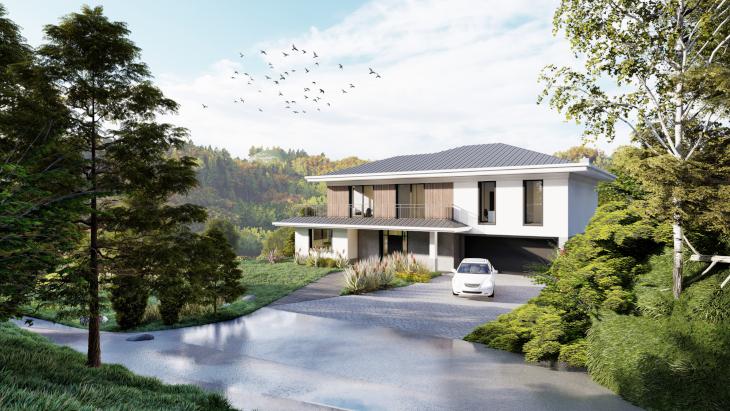 A na koniec sielski dom nowoczesny w otoczeniu zieleni!