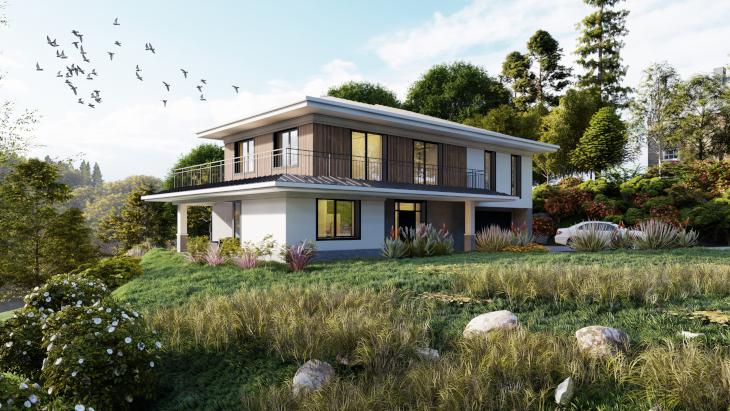 W budynkach dwukondygnacyjnych sprawdzą się też dachy spadziste o bardzo małym kącie nachylenia połaci jak w tym projekcie.