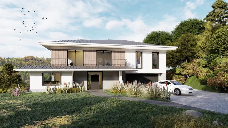 Elewacja frontowa - sielski dom nowoczesny. Wysunięte okapy i gzymsy dodające budynkowi elegancji.
