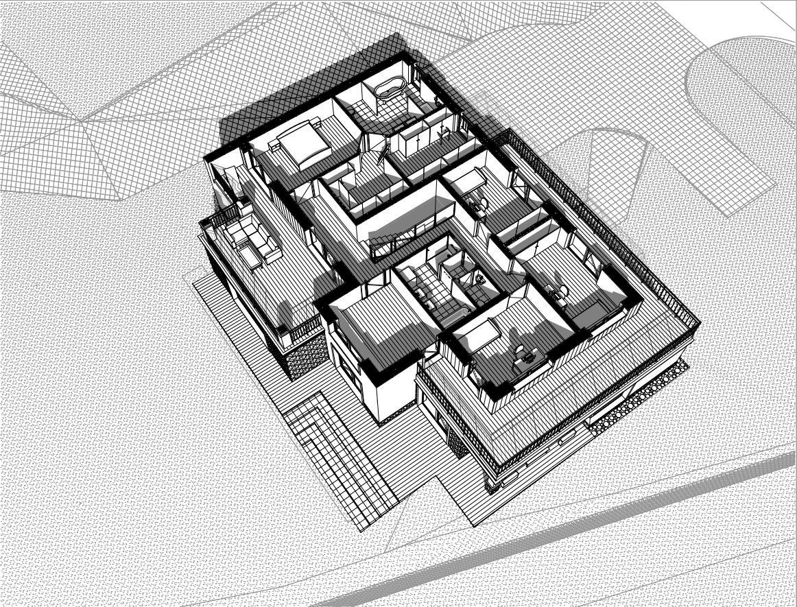 Sielski dom nowoczesny - aksonometria drugiej kondygnacji