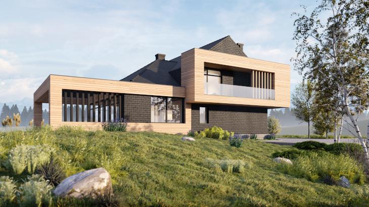 Nowoczesny dom letniskowy - Powysuwane elementy drewniane idealnie komponują się z ciemnoszarą cegłą.