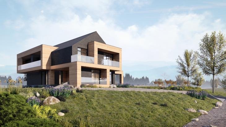 Ten nowoczesny dom letniskowy pięknie wpisuje się w otaczający go krajobraz.