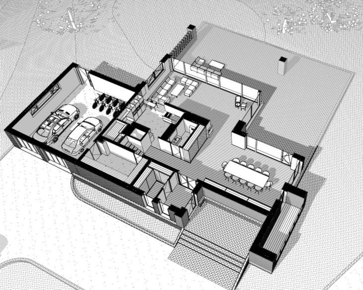 Nowoczesny dom letniskowy - Układ parteru nietypowy, bo w centralnej części znajduje się WC oraz kominek.