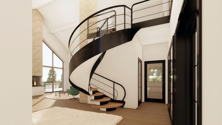 Dzięki podwyższeniu wysokości salonu odkrywamy konstrukcję dachu. Przy tego typu rozwiązaniach można również pięknie podkreślić pionowy kierunek w jakim biegnie komin (tutaj poprzez zastosowanie innego materiału wykończeniowego). Zwróćcie również uwagę na ogromne oszklenia dopasowane kształtem do ściany szczytowej w budynku ;)