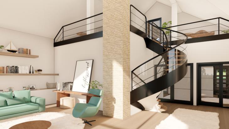 DOM MARZEŃ A0235 – elegancki dom na stoku w dwóch wariantach Projekt antresoli w eleganckim domu na stoku (finalna wersja tego domu nieco odbiega od tego co widzieliście we wpisie). Dzięki podwyższeniu salonu mamy uczucie ogromu wolnej przestrzeni. Pojawiają się piękne schody kręcone prowadzone na antresolę.