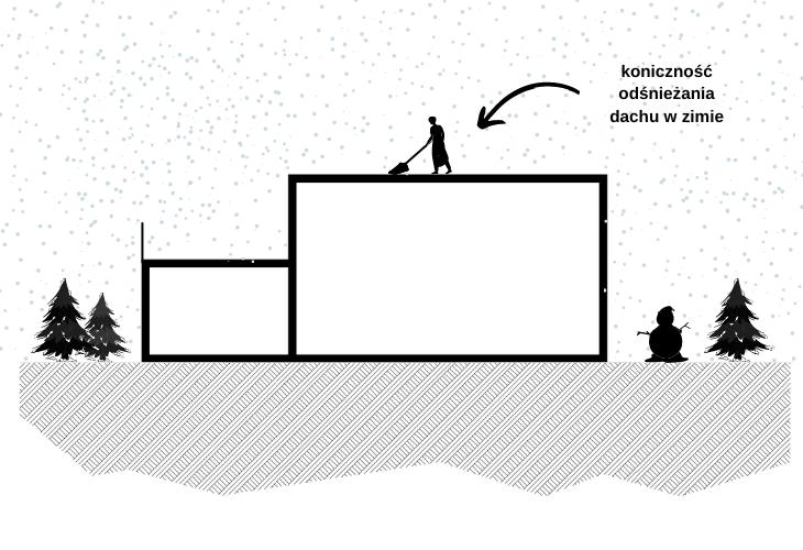 Odśnieżanie dachu zimą