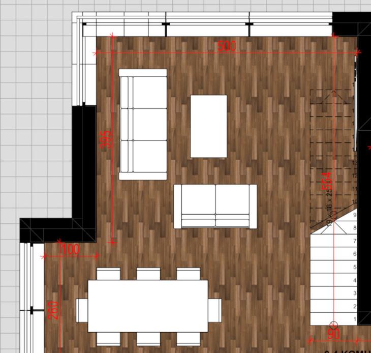 W tym projekcie zastosowaliśmy schody otwarte. Są to schody jednobiegowe, biegnące przez całą ścianę salonu. Jak widzicie w przestrzeni pod schodami umieszczono telewizor. Mogłaby się tam znaleźć zabudowa lub biblioteczka!